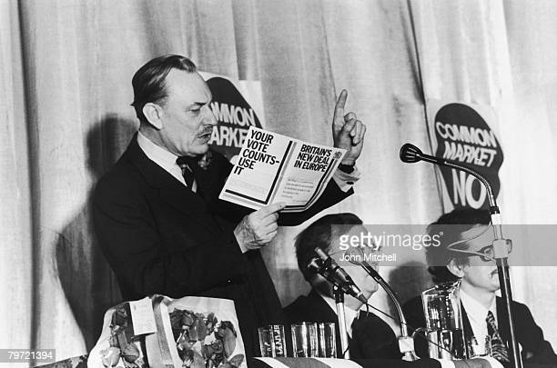 British statesman and Eurosceptic Enoch Powell speaks at Sidcup on the subject of the European Common Market 5th June 1975