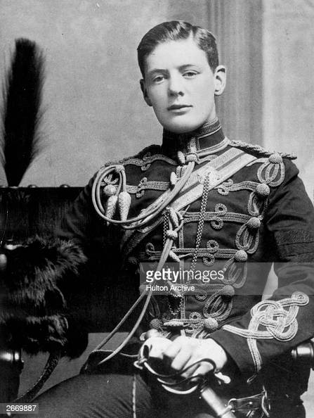 British statesman and writer Winston Leonard Spencer Churchill in the uniform of the Fourth Queen's Own Hussars at the age of nineteen when he left...