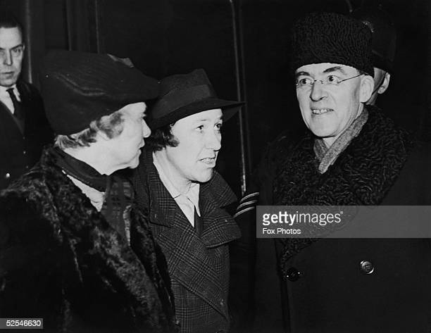 British statesman Sir Stafford Cripps arrives at Euston Station in London having retired from his post as Ambassador to Russia 23rd January 1942 On...