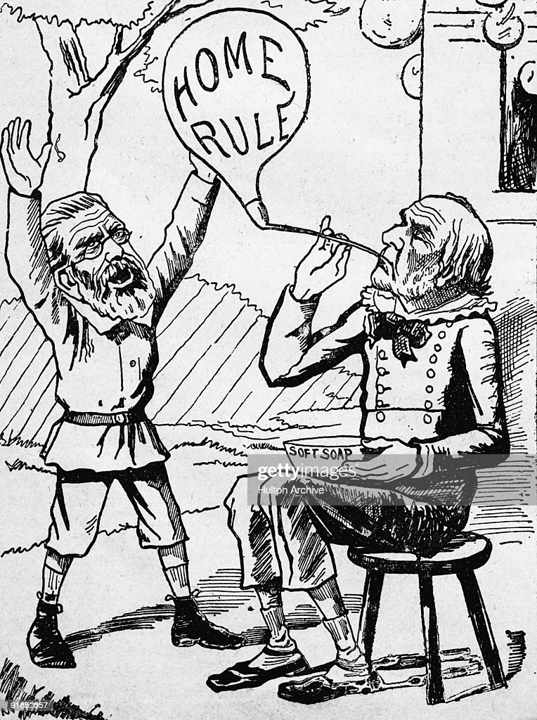 British statesman William Gladstone (1809 - 1898) blows the bubble of Home Rule, 1891. Gladstone had introduced the Home Rule Bill for Ireland during his third term as Prime Minister but it proved unpopular and was thrown out. A cartoon from 'United Ireland' - pub. 25th July 1891