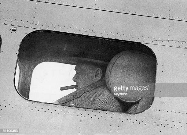British statesman Winston Churchill prepares to take off from Biggin Hill aerodrome in Kent for an electioneering trip to Wolverhampton 23th July...