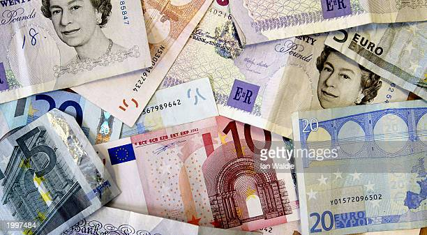 British Sterling and Euro banknotes are seen May 14 in London The Chancellor of the Exchequer Gordon Brown is expected to announce whether Britain...