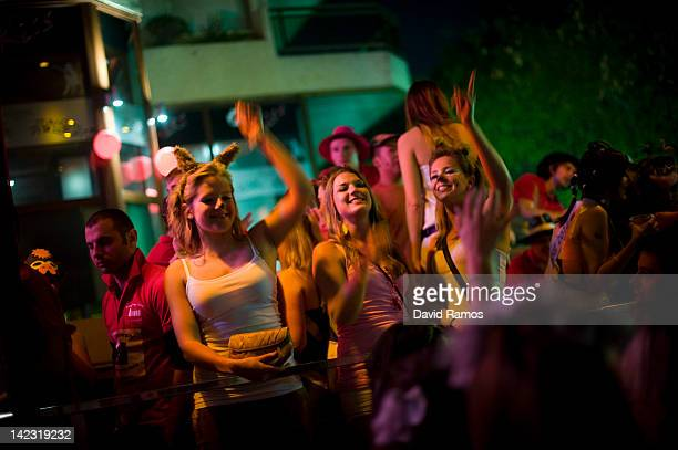 British students dance on the terrace of a nightclub during the first night of parties during the SalouFest on April 1 2012 in Salou Spain Saloufest...