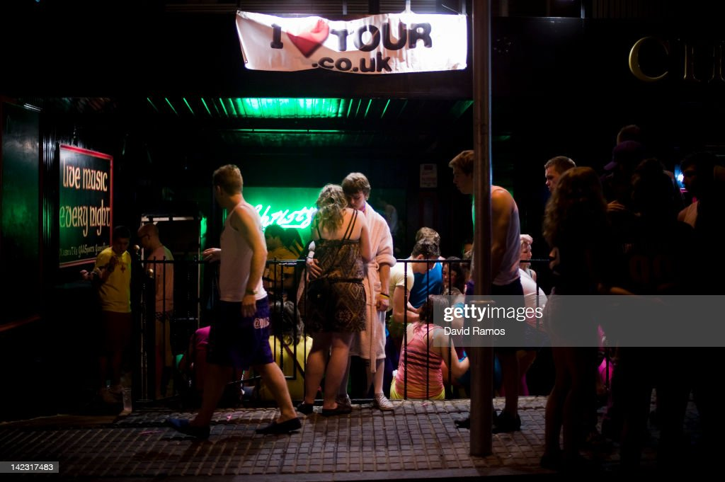 British students in fancy dress gather outside a nightclub during the first night of parties during the SalouFest on April 1, 2012 in Salou, Spain. Saloufest is a sporting tour event where thousands of British university students take part in different sport competitions and join parties during the Easter holidays in the Catalan village of Salou.