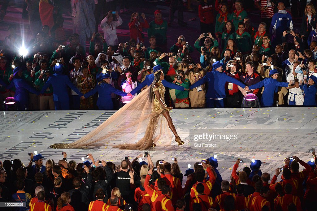 British supermodel Naomi Campbell during the Closing Ceremony on Day 16 of the London 2012 Olympic Games at Olympic Stadium on August 12, 2012 in London, England.