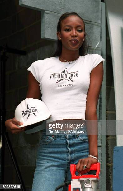 British supermodel Naomi Campbell in London's Coventry Street to perform the groundbreaking ceremony for the first European Fashion Cafe The...