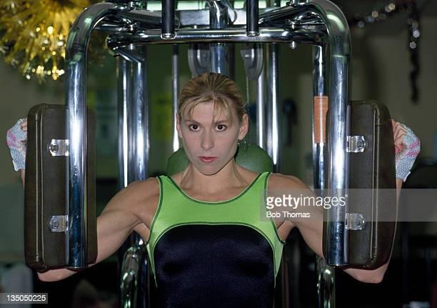 British swimmer Sharron Davies training for the Commonwealth Games circa 1990