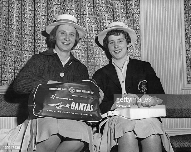 British swimmers Anita Lonsbrough and Diana Wilkinson at a London hotel before leaving for the British Empire and Commonwealth Games in Perth...