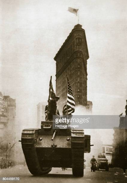British tank 'Britannia' on Fifth Avenue New York City USA c1917c1918 Passing in front of the Flatiron Building The tank was in New York to aid the...