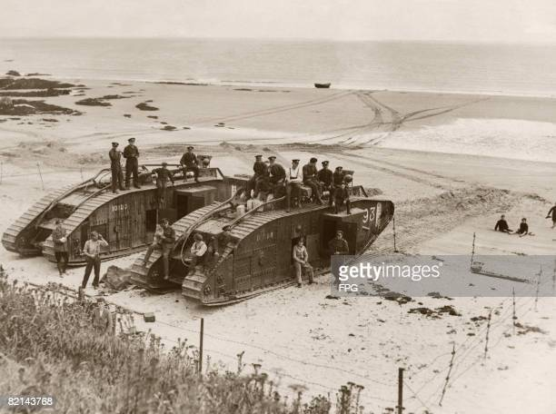 British tanks on a beach near Cork in the Republic of Ireland probably during the Irish War of Independence circa 1920