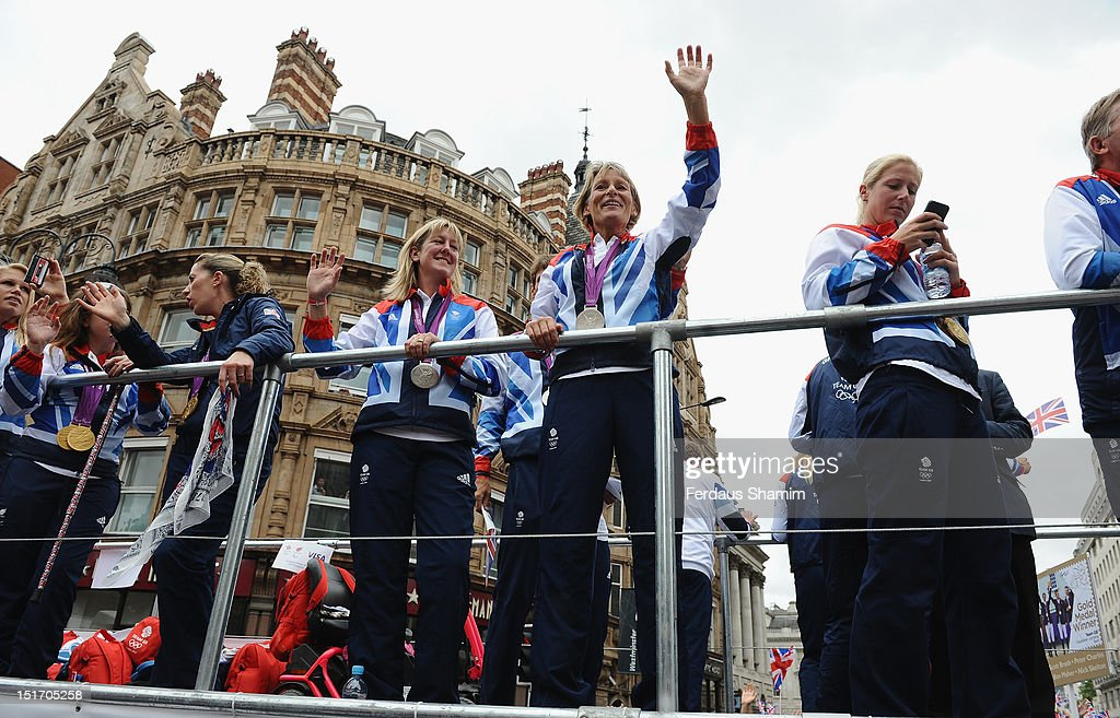 British Team GB members celebrate during the Olympics & Paralympics Team GB London 2012 Victory Parade on September 10, 2012 in London, England.