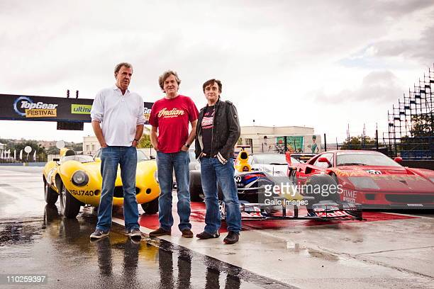 British television personalities Jeremy Clarkson James May and Richard Hammond of the Emmy award winning motoring show Top Gear at the Kyalami...
