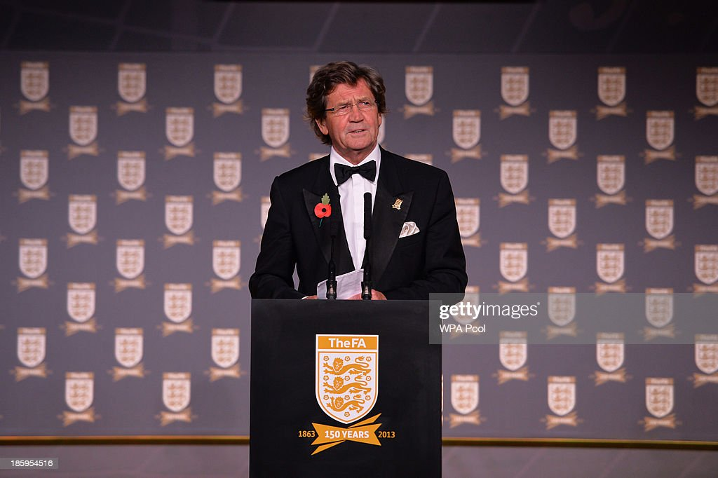 British television presenter and author <a gi-track='captionPersonalityLinkClicked' href=/galleries/search?phrase=Melvyn+Bragg&family=editorial&specificpeople=220187 ng-click='$event.stopPropagation()'>Melvyn Bragg</a> gives a speech during The Football Association's 150th Anniversary Gala Dinner at the Grand Connaught Rooms on October 26, 2013 in London, England. The Duke of Cambridge is president of the Football Association, which was founded 150 years ago on October 26, 1863. The event marks the day when a group of men representing a dozen London and suburban clubs met at the Freemason's Tavern in London, to draw up the rules of a sport that went on to become the most popular in the world.