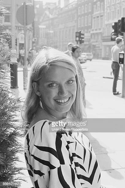 British television presenter of the game show 'Treasure Hunt' Anneka Rice pictured standing on Upper St Martins Lane in London on 26th September 1983