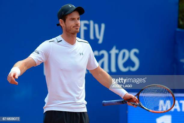 British tennis player Andy Murray gestures during his match against Austrian tennis player Dominic Thiem in the ATP Barcelona Open 'Conde de Godo'...