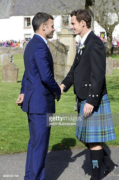 British tennis player Andy Murray greets a friend outside Dunblane Cathedral in Dunblane on his wedding day on April 11 2015 Tennis ace Andy Murray...