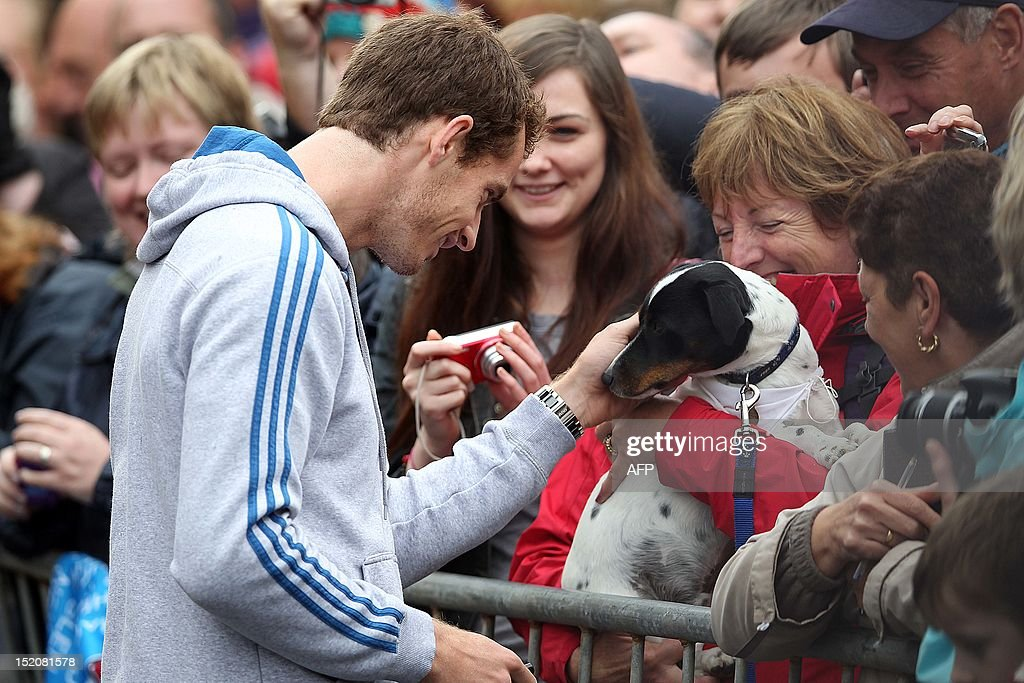 British tennis player Andy Murray pets a dog as he meets with fans in the centre of Dunblane, Scotland on September 16, 2012, following his victory in the US Open tennis tournament and gold medal in the London 2012 Olympic Games. Andy Murray, the first British man to win a Grand Slam title in 76 years, received a rapturous welcome in his Scottish home town on Sunday, but admitted that his golden summer was giving him nightmares. AFP PHOTO / IAN MACNICOL