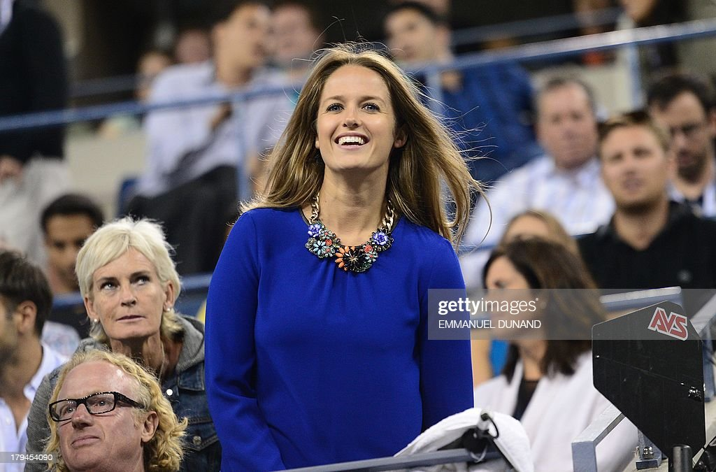 British tennis player Andy Murray's girlfriend Kim Sears reacts as he plays against Uzbekistan's Denis Istomin during their 2013 US Open men's singles match at the USTA Billie Jean King National Tennis Center in New York on September 3, 2013. AFP PHOTO/Emmanuel Dunand