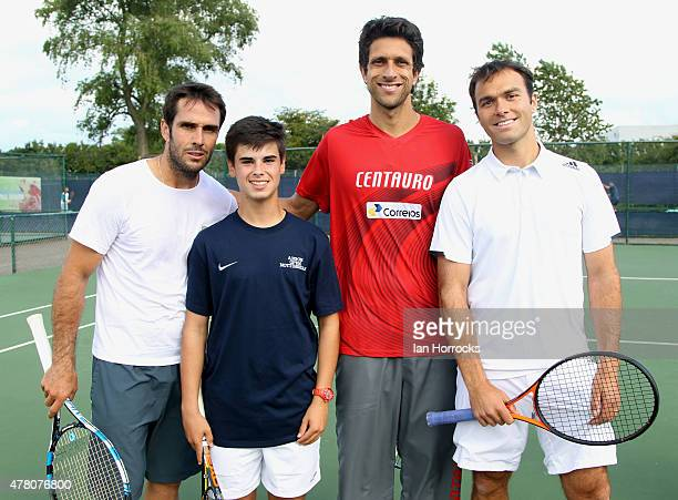 British tennis player Bradley Buckland of Derbyshire after a coaching session with Professional players David Marrero of Spain and Marcelo Melo of...