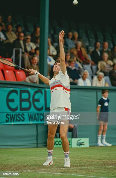 British tennis player Colin Dowdeswell competing in a Davis Cup world group relegation playoff match against Yugoslavia at Eastbourne Sussex...