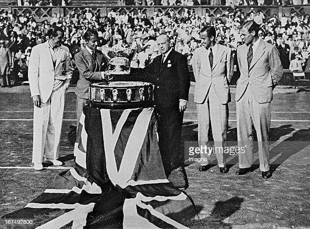 British tennis player Henry Wilfred 'Bunny' Austin member of the British Davis Cup winning team from 19331935 obtained from the hand of Roper Barrett...