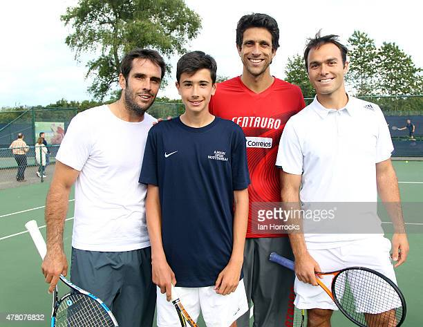 British tennis player Matthew Clegg of Yorkshire after a coaching session with Professional players David Marrero of Spain and Marcelo Melo of Brazil...