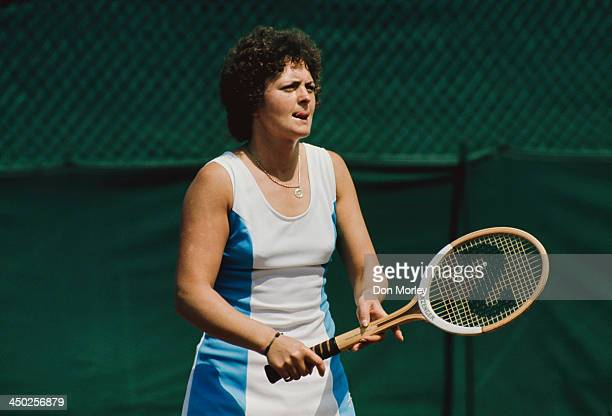 British tennis player Sue Mappin on court 1975