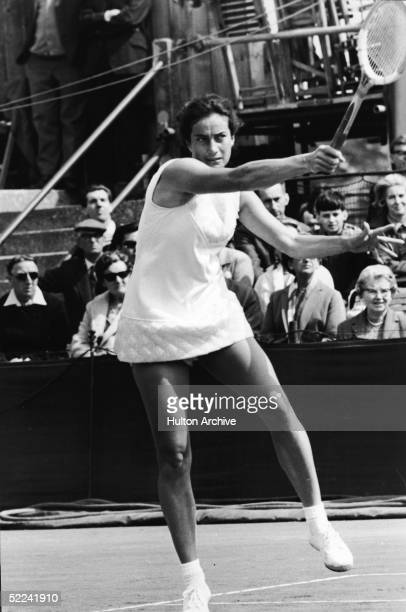 British tennis player Virginia Wade in action during the 1968 US Open at the West Side Tennis Club Forest Hills New York September 9 1968 Wade went...