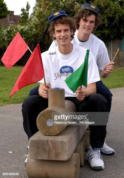 British tennis players Andy and Jamie Murray at Dorchester Primary School Surrey