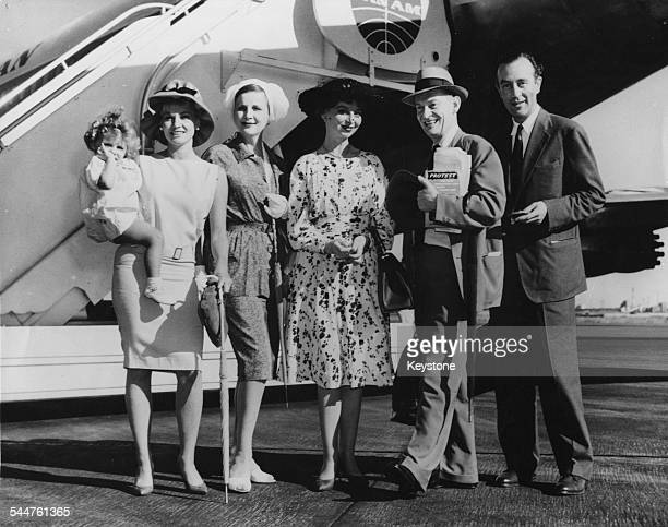 British theatre actors arriving at Idlewild Airport Diane Cilento Giovanna Volpe Diana Wynyard Pamela Brown Alan Webb and Dennis Price in New York...