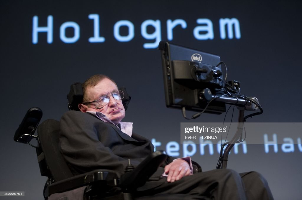 British theoretical physicist professor Stephen Hawking attends a symposium during the opening of the PLANCKS event in Amsterdam, on May 23, 2014. PLANKS is a three-day international physics competition organised by students from Utrecht University.