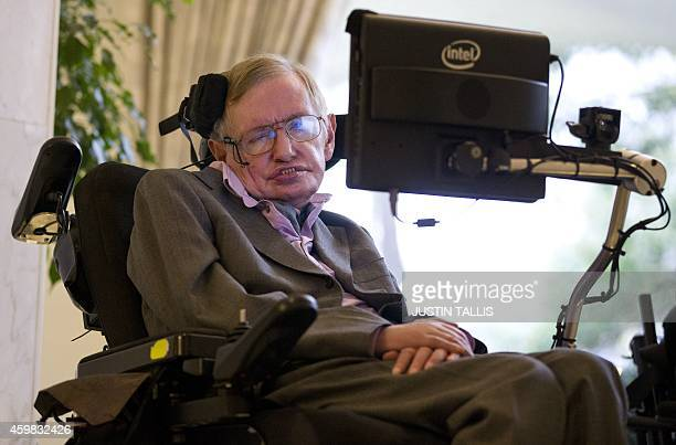 British theoretical physicist professor Stephen Hawking speaks to members of the media at a press conference in London on December 2 2014 The system...