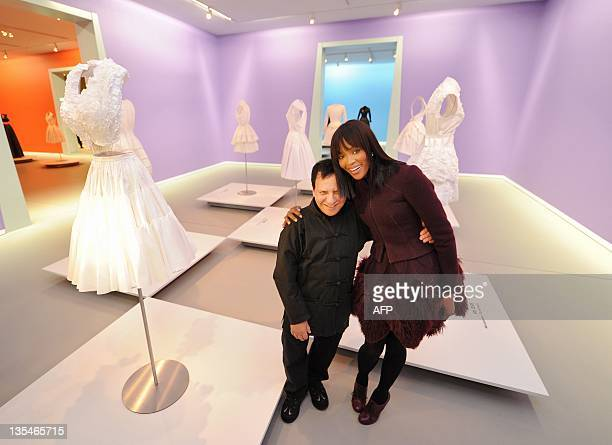 British topmodel Naomi Campbell poses with French fashion designer Azzedine Alaia in the Groninger Museum in Groningenon December 10 2011 AFP PHOTO/...