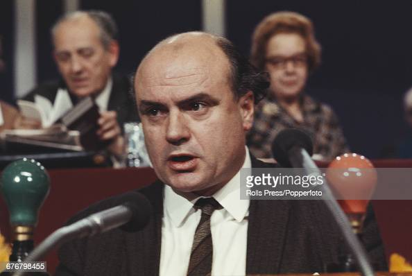 British trade unionist and General Secretary of the National Union of Mineworkers Lawrence Daly makes a speech from the platform at the Labour Party...