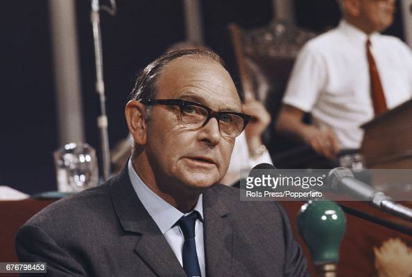 British trade unionist and General Secretary of the Transport and General Workers Union Jack Jones listens to a speech from the platform at the...