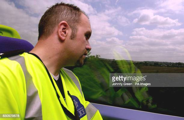British Transport Police Constable Ian Gathercole travels aboard a C2C QTrain between Barking and LeighonSea in Essex QTrains are undercover...