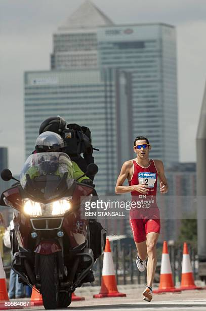 British triathlete Stuart Hayes is seen during Male Elites race during the London Triathlon in East London on August 2 2009 AFP PHOTO/Ben Stansall