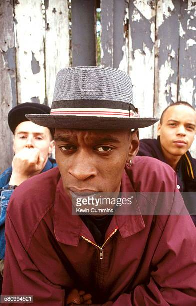 British trip hop group Massive Attack London June 1991 Left to right Robert '3D' Del Naja Grant 'Daddy G' Marshall and Andrew 'Mushroom' Vowles