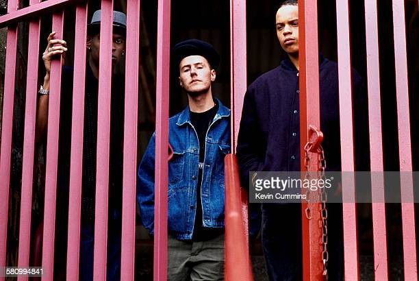 British trip hop group Massive Attack London June 1991 Left to right Grant 'Daddy G' Marshall Robert '3D' Del Naja and Andrew 'Mushroom' Vowles