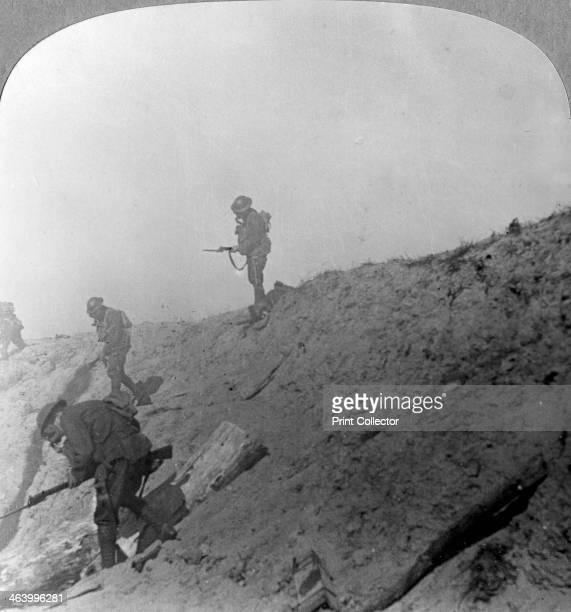 British troops advancing through gas Passchandaele Ypres Belgium World War I c1914c1918 Stereoscopic card Detail