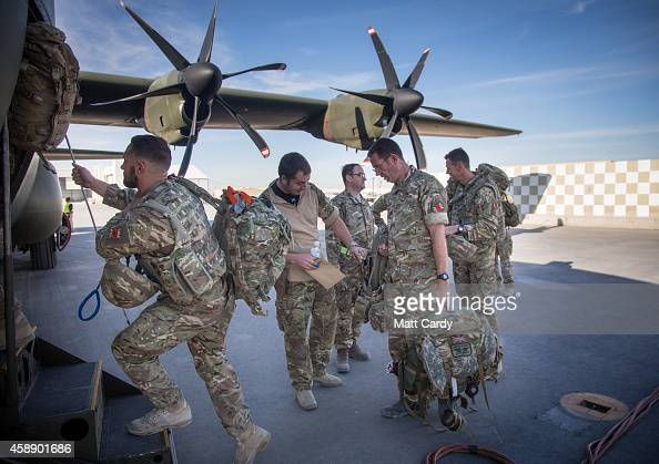 British troops board the final C130 Hercules leaving Kandahar airfield on November 13 2014 in Kandahar Afghanistan Now that British combat operations...