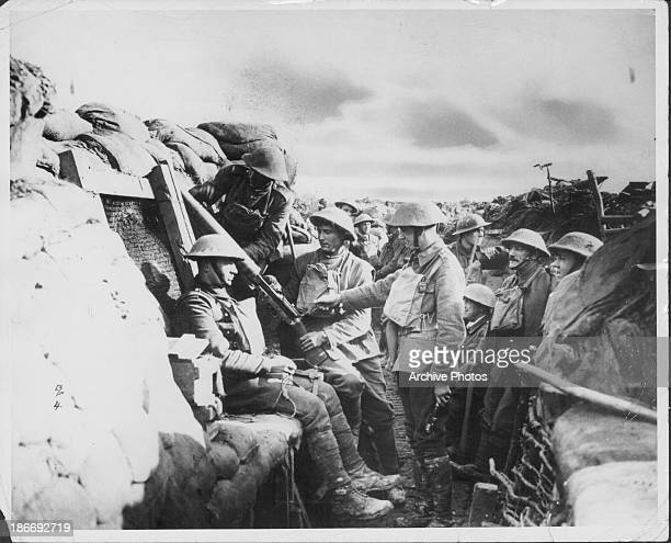British troops in the trenches during World War One France circa 19141918