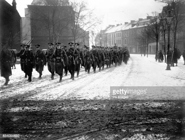 British troops passing through Cologne on their way to the station at the end of the post World War One occupation of the city