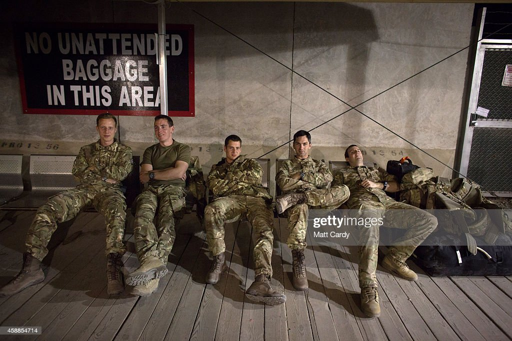British troops wait at the airport terminal for their flight home at Kandahar airfield on November 12 2014 in Kandahar Afghanistan Now that British...