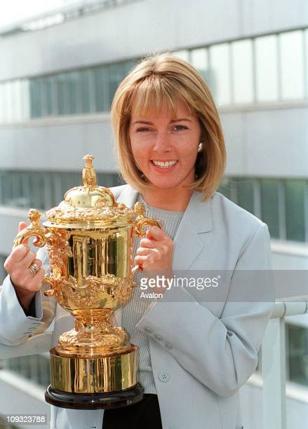 British TV Presenter and Reporter Mary Nightingale Presenter of the Rugby World Cup evening highlights showPictured with the RUGBY WORLD CUP