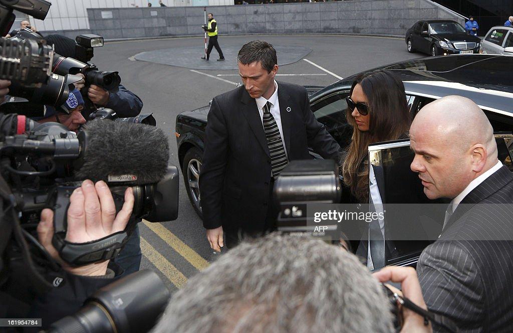 British TV presenter and socialite Tamara Ecclestone (R) arrives at Southwark Crown Court in London, on February 18, 2013. Derek Rose and Jakir Uddin (not pictured) are accused of blackmailing Tamara Ecclestone, daughter of Bernie Ecclestone, President of Formula One Management.