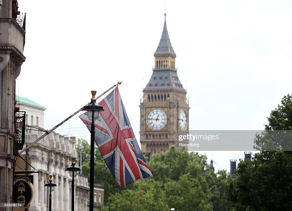 A British Union flag, commonly known as a Union Jack, hangs against a backdrop of Big Ben in London, U.K., on Tuesday, June 28, 2016. The pound rose for the first time since the U.K.s vote to leave the European Union, as a recovery in investor appetite for higher-yielding assets seeped through currency markets. Photographer: Chris Ratcliffe/Bloomberg via Getty Images