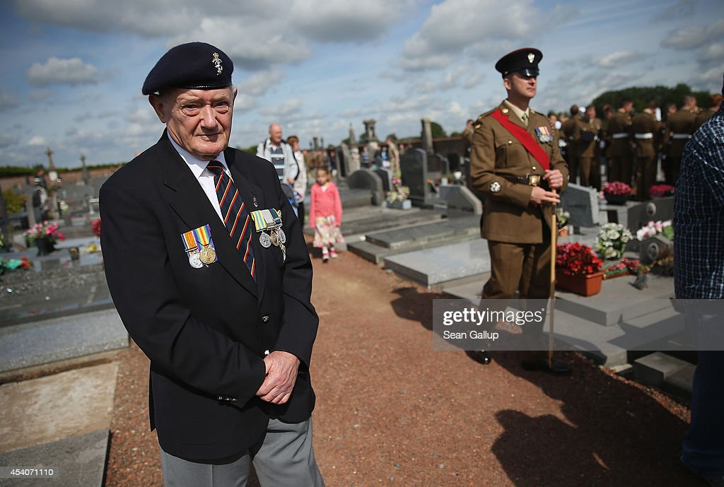 British veteran Allen Ravenscroft, 80, who served in Korea with the Cheshire Regiment, attends a commemoration ceremony at the village cemetery to honour members of the Cheshire Regiment and other soldiers who died fighting the German Army exactly 100 years before during World War I on August 24, 2014 in Audregnies, Belgium. Among those killed at Audregnies that day were Ravencroft's great uncle, Henry Hough. Of the 25 officers and 925 men of the 1st Battalion, Cheshire Regiment who fought that day only a total of 207 would survive after two messengers with instructions for the unit to retreat failed to make it through. The battle came on the heals of the Battle of Mons the day before, which was the first major engagmement between British and German forces in the war. The British, French and Belgian armies were forced to continue their retreat until weeks later, when only a short distance from Paris they managed to reverse the tide of the war and push the Germans back north.