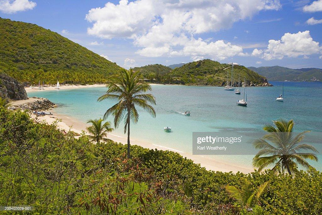 British Virgin Islands, Peter Island, boats in Deadman's Bay : Stock Photo