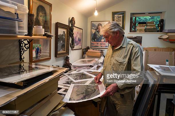 British war photographer Don McCullin in his print room at his home in Somerset 21st July 2015